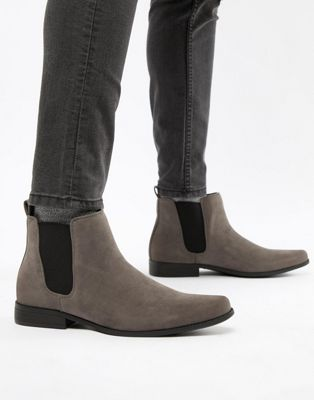 ASOS - Bottines chelsea imitation daim - Gris