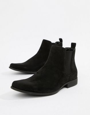 ASOS - Bottines Chelsea imitation daim - Noir
