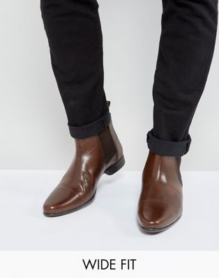 ASOS - Bottines chelsea larges en cuir - Marron