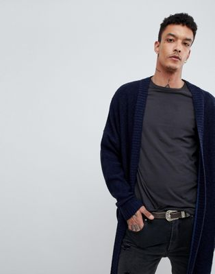 ASOS Boucle Longline Cardigan In Navy
