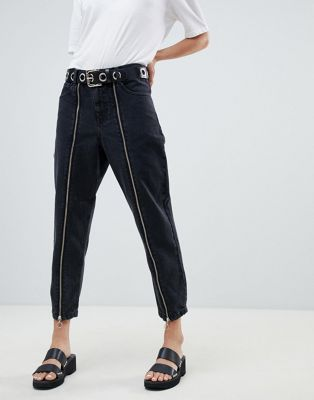 ASOS BOYFRIEND Jeans In Washed black With Zip Front Detail