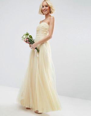 ASOS BRIDAL Ruched Mesh Bandeau Maxi Dress