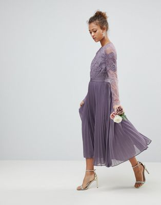 ASOS Bridesmaid Long Sleeve Lace Pleated Midi Dress
