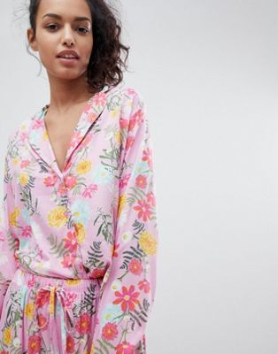 ASOS Bright Floral 100% Modal Traditional Shirt & Trouser Pyjama Set