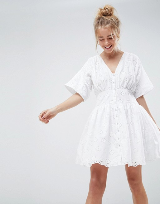 ASOS Broderie Casual Tea mini dress