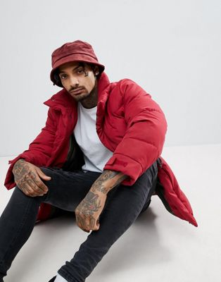 ASOS Bucket Hat In Burgundy Velour