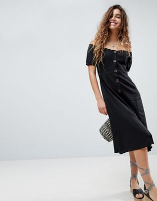 ASOS Button Through Off Shoulder Midi Dress