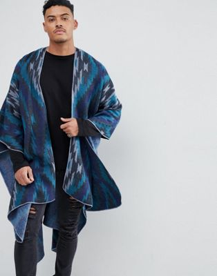 ASOS Cape In Blue With Geo-Tribal Design