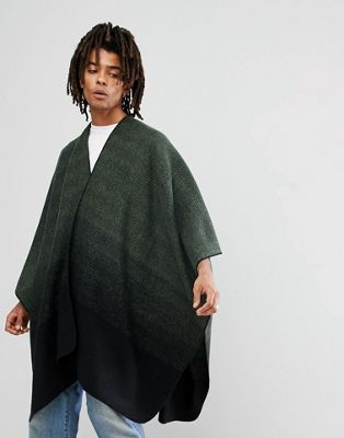 ASOS Cape In Khaki To Black Ombre Design