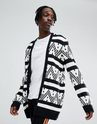 Image 1 of ASOS Cardigan With Monochrome Stripe
