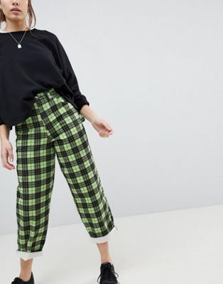 ASOS Carpenter Boyfriend Jeans in Green Check Print