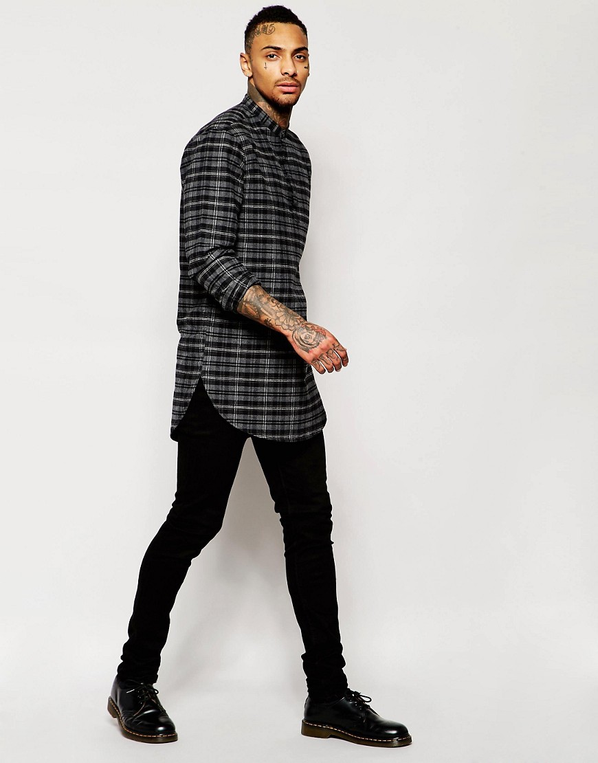 asos-check-shirt-in-super-longline-with-3_4-placket-and-grandad-collar by asos