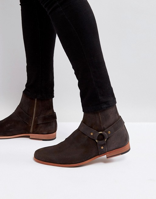 Bild 1 von ASOS – Chelsea-Stiefel aus braunem Leder mit Metallschnalle