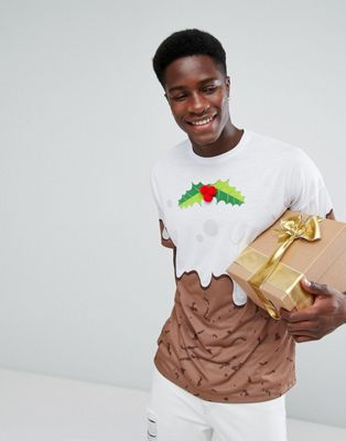 ASOS Christmas Oversized T-Shirt With Pudding Print And 3D Holly