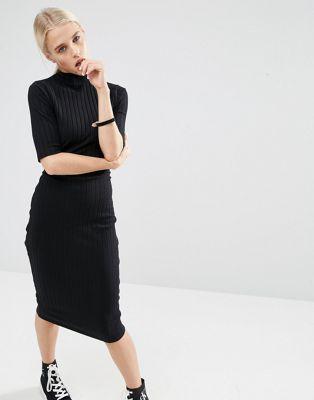 Image 1 of ASOS Chunky Rib Bodycon Midi Dress with Half Sleeve