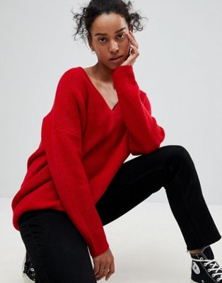 Image 1 of ASOS Chunky Sweater In Oversized With V Neck