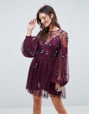 ASOS Cluster Embellished Balloon Sleeve Mini Dress