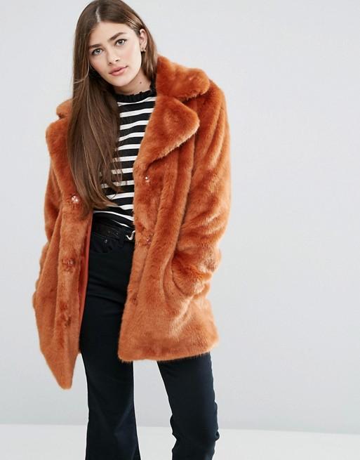 ASOS Coat In Chunky Faux Fur