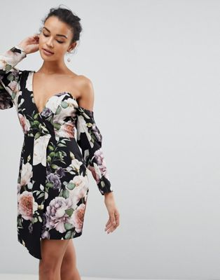 ASOS Cocktail Mini Dress in Dark Floral Print