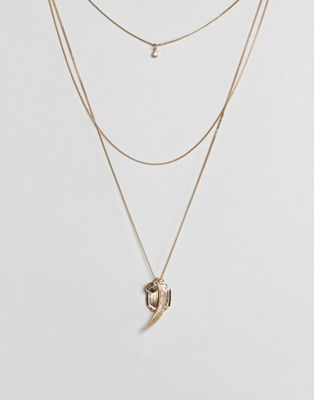 ASOS Coin & Charm Multirow Necklace