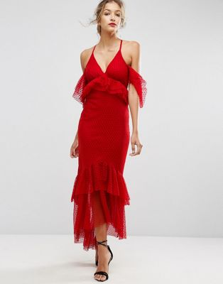 Image 1 of ASOS Cold Shoulder Dobby Plunge Maxi Dress