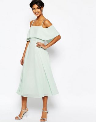 Image 1 of ASOS Cold Shoulder Midi Dress