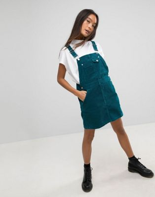 ASOS Cord Dungaree Dress in Emerald Green