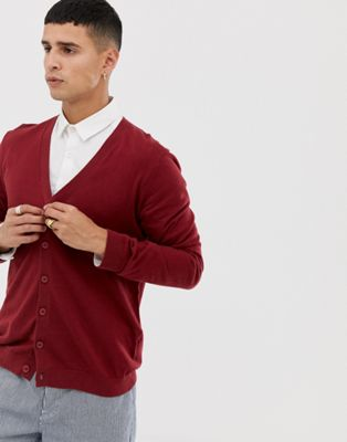 ASOS Cotton Cardigan In Burgundy