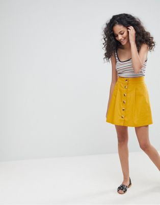 ASOS Cotton Mini Skater Skirt with Button Front