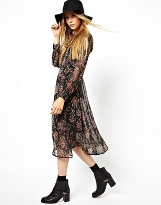 Image 1 of ASOS Covered Button Dress In Vintage Floral