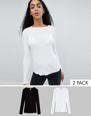 ASOS Crew Neck in Slim Fit in Rib 2 Pack Save 15%