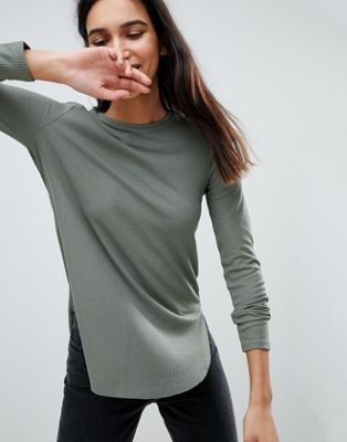 ASOS Crew Neck Long Sleeve Top With Curve Hem