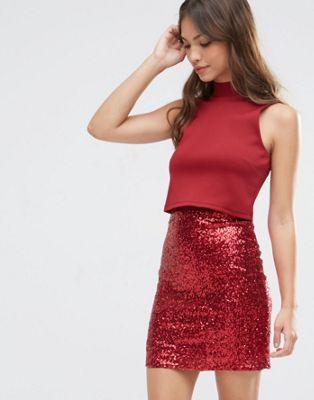 Image 1 of ASOS Crop Top Mini Sequin Skirt Bodycon Dress