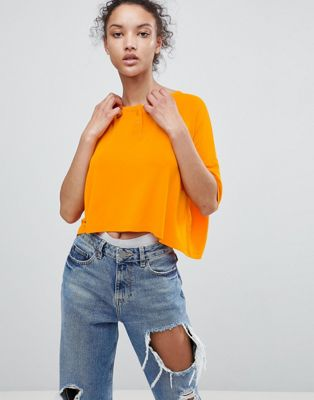 ASOS Cropped Oversized T-Shirt With Button Front