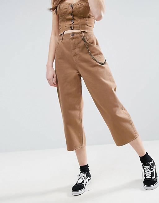 ASOS Cropped Skater Jeans in Tobacco