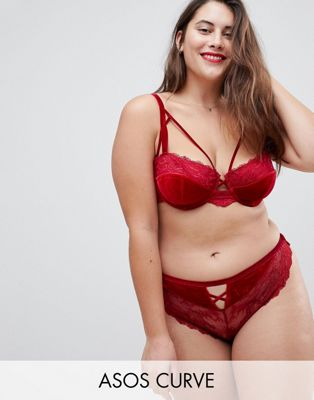 ASOS CURVE Crystal Red Velvet Moulded Underwire Bra