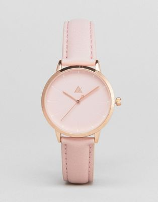 ASOS CURVE Debossed Marker Pink Tonal Watch