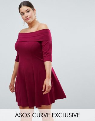 ASOS CURVE Deep Bardot Mini Skater Dress with 3/4 Length Sleeve