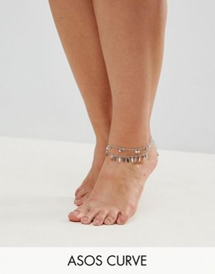 ASOS CURVE Exclusive Pack of 2 Pretty Drop Anklets