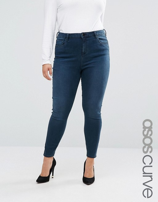 Image 1 of ASOS CURVE High Waist Ridley Skinny Jeans In Grace Wash