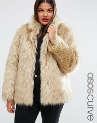 ASOS CURVE Jacket in Vintage Faux Fur
