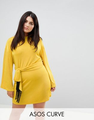 ASOS CURVE Kimono Sleeve Mini Dress With Self Tie Fringe Belt