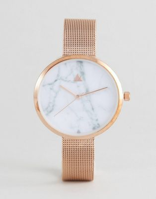 ASOS CURVE Marble Face Mesh Watch