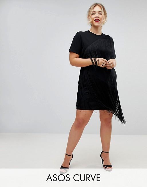 0c82d292b667 ASOS CURVE Mini T-Shirt Dress With Fringe Detail | ASOS