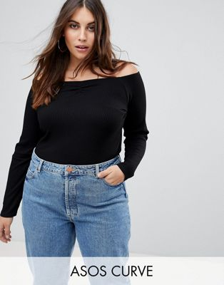 ASOS CURVE Off Shoulder Top in Fitted Rib