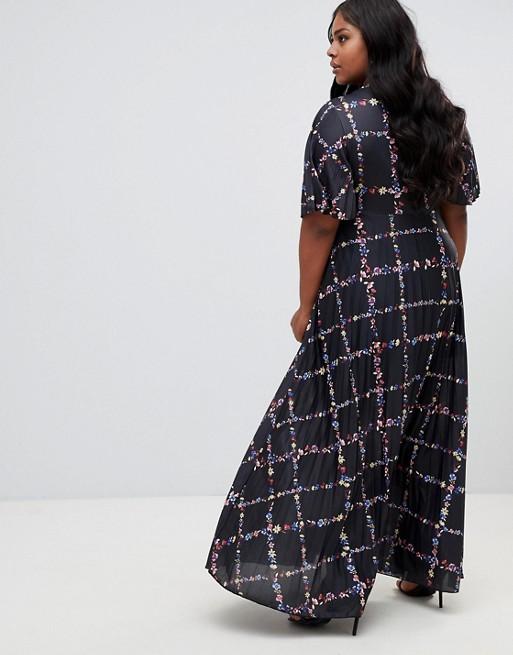 CURVE ASOS mit mehrfarbig Plissiertes Kimono Print Maxikleid TfrAfqwd