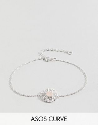 Image 1 of ASOS CURVE Sterling Silver Faux Rose Quartz Fine Chain Bracelet