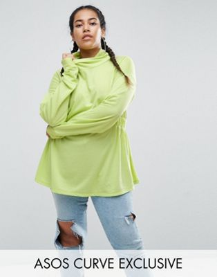 ASOS CURVE Sweatshirt with Roll Neck in Neon
