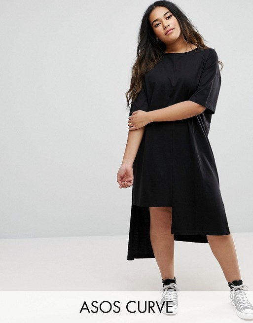 3e3e3d48c56 ASOS CURVE T-Shirt Dress with Split Hem Detail