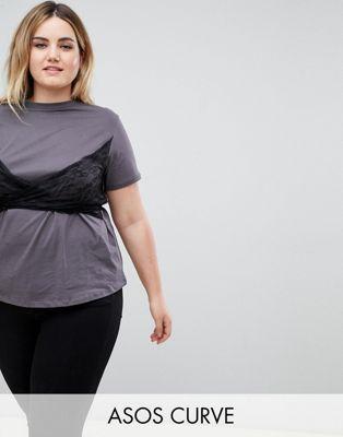 ASOS CURVE T-Shirt with Lace Wrap